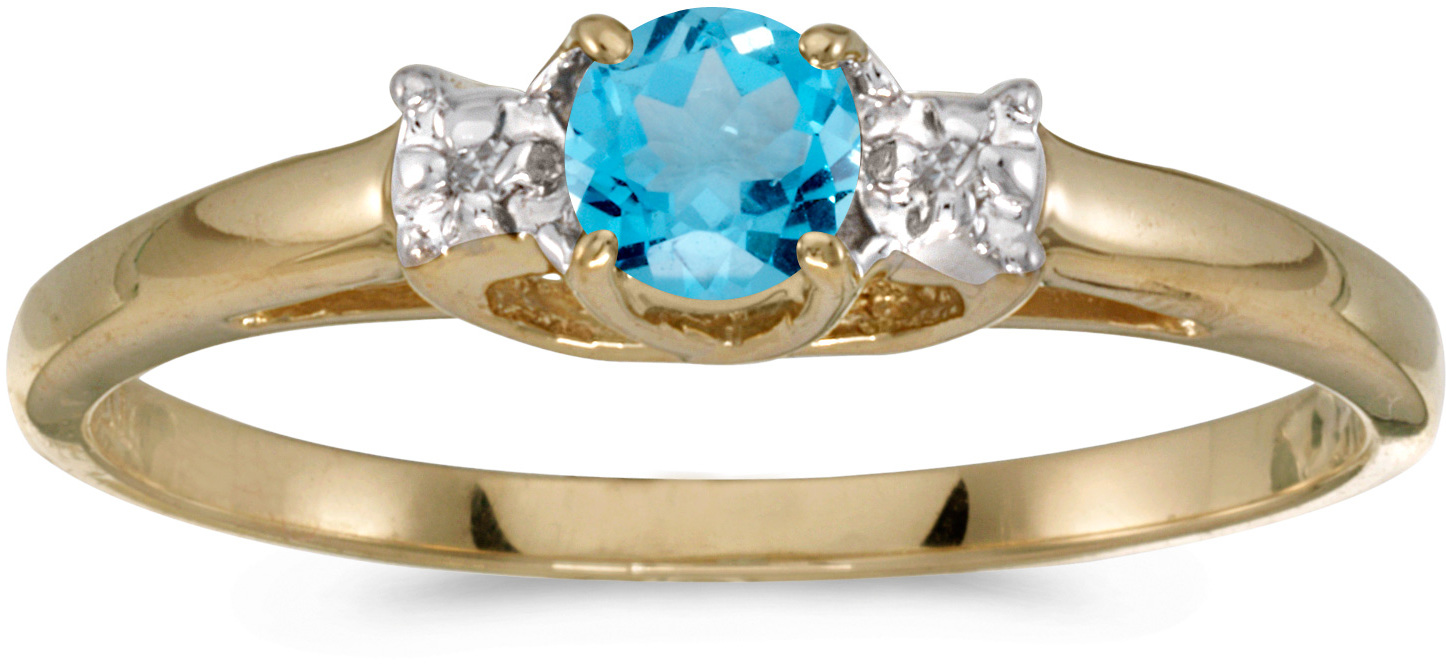 10k Yellow Gold Round Blue Topaz And Diamond Ring (CM-RM1575-12)