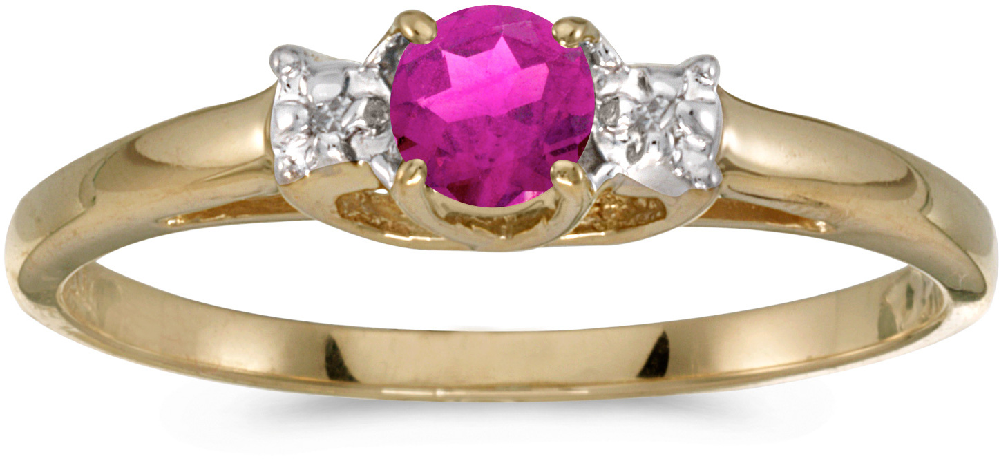 10k Yellow Gold Round Pink Topaz And Diamond Ring (CM-RM1575-PT)