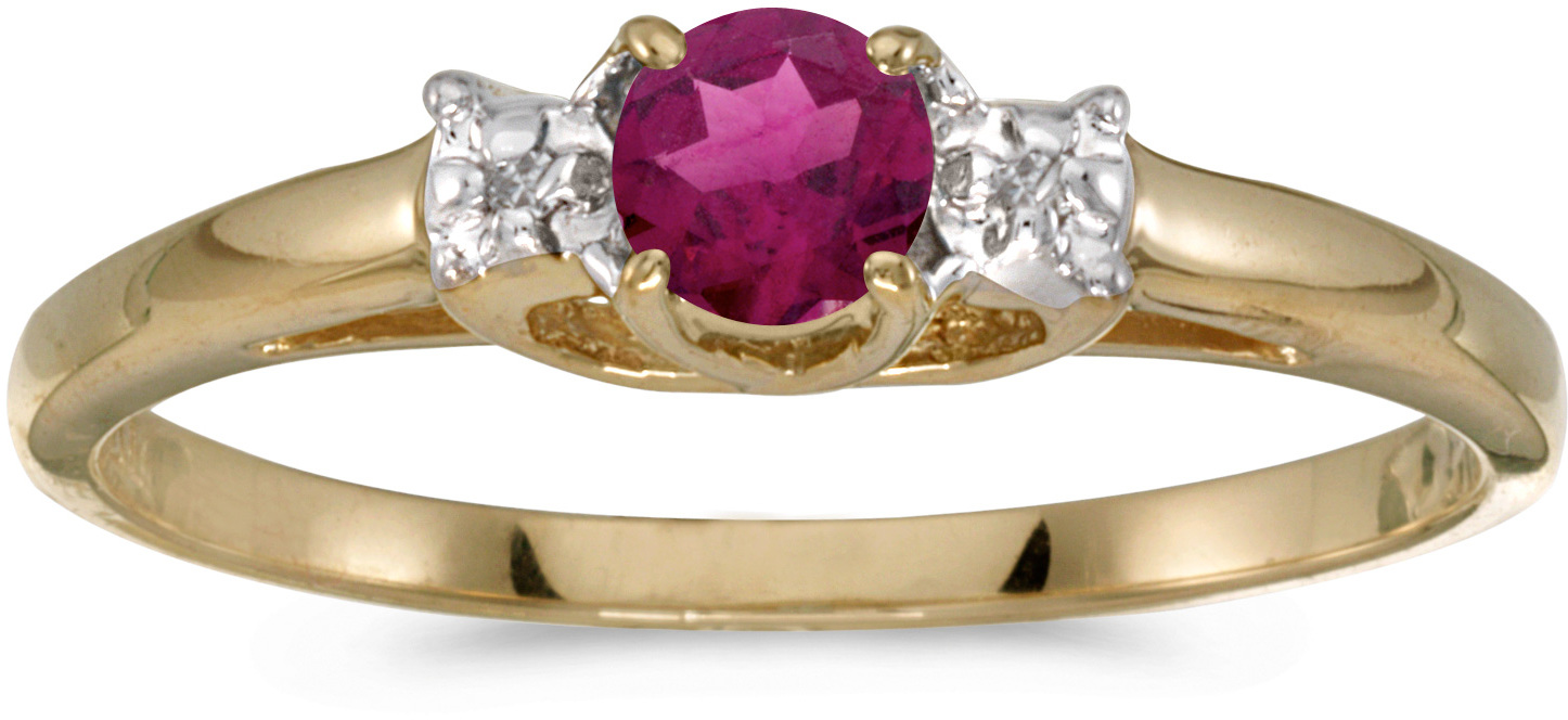 10k Yellow Gold Round Rhodolite Garnet And Diamond Ring (CM-RM1575-RG)