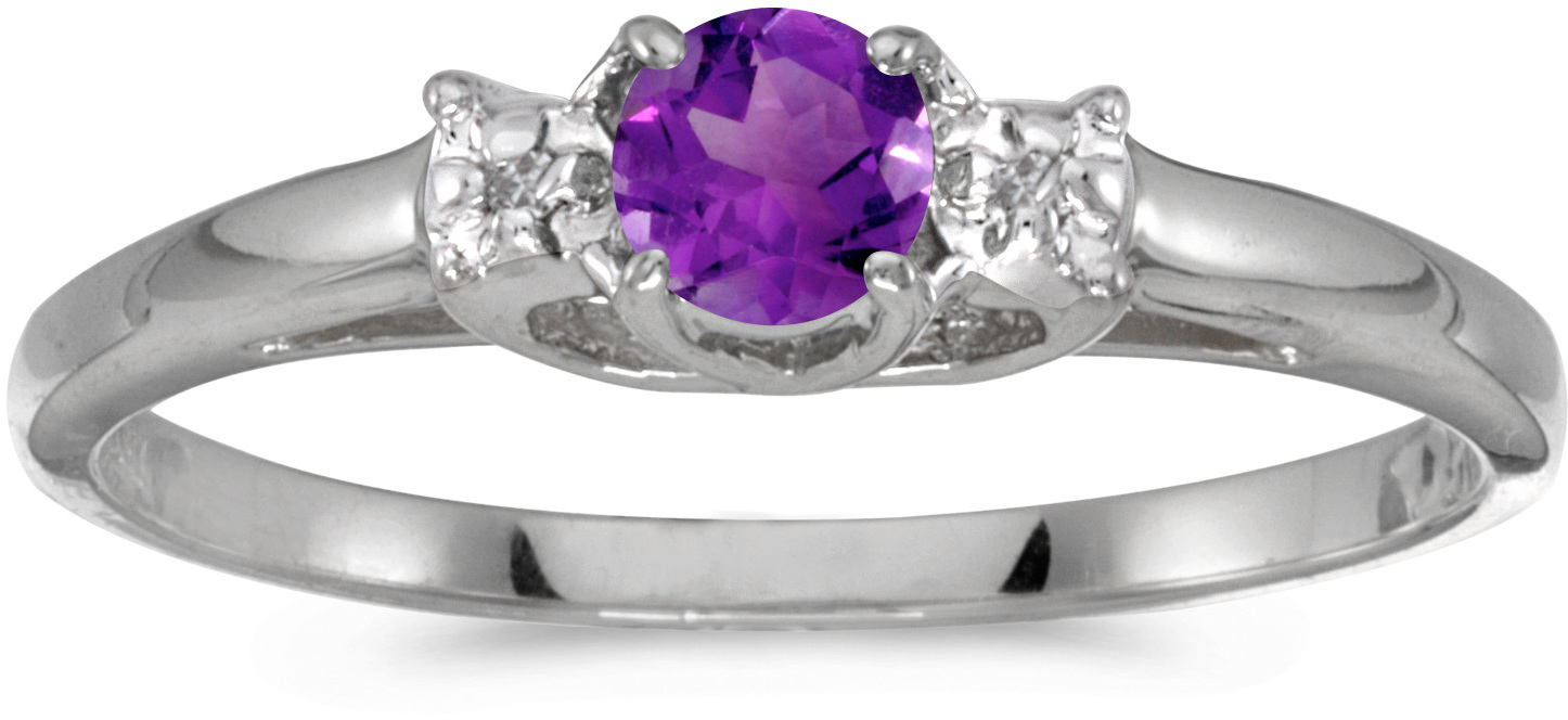 10k White Gold Round Amethyst And Diamond Ring (CM-RM1575W-02)