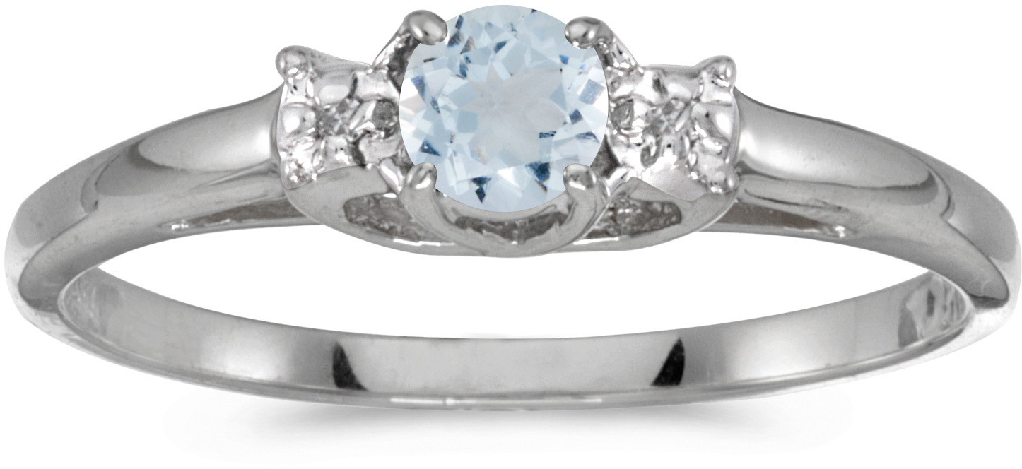 10k White Gold Round Aquamarine And Diamond Ring (CM-RM1575W-03)