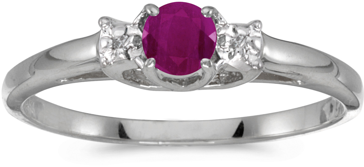 10k White Gold Round Ruby And Diamond Ring (CM-RM1575W-07)
