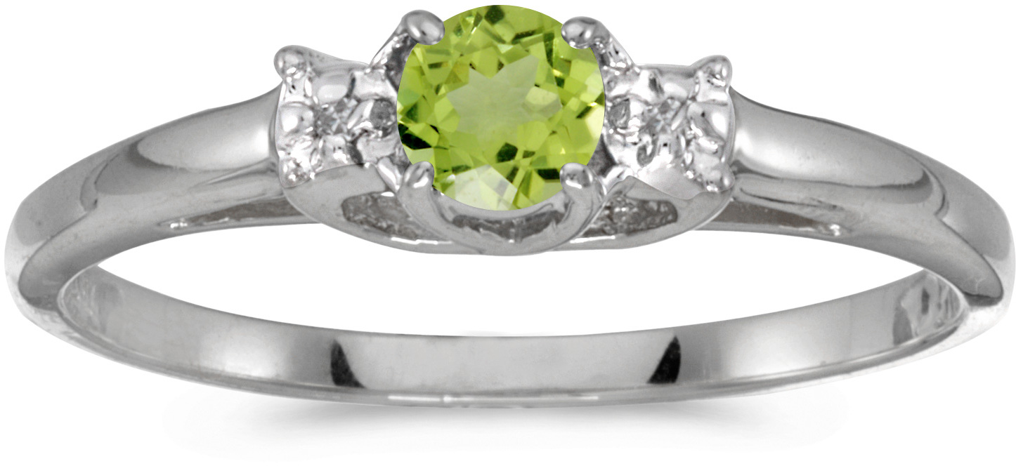 10k White Gold Round Peridot And Diamond Ring (CM-RM1575W-08)