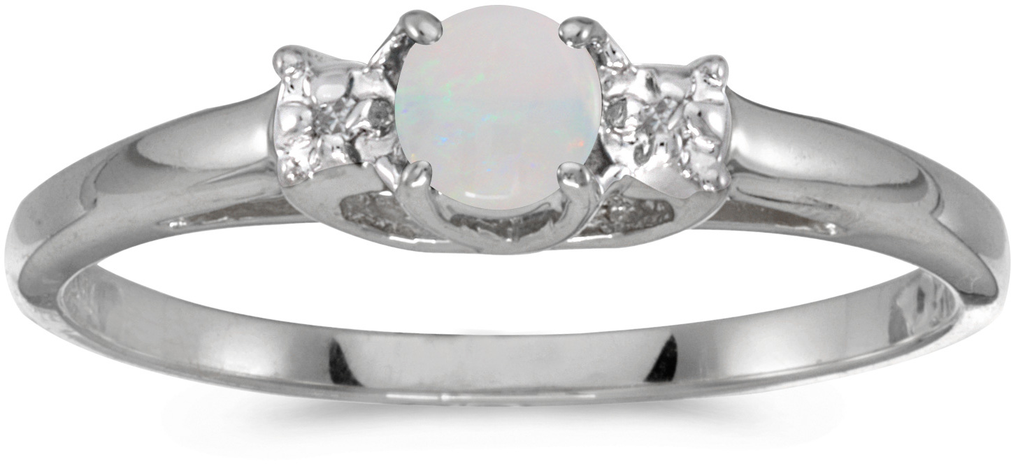 10k White Gold Round Opal And Diamond Ring (CM-RM1575W-10)