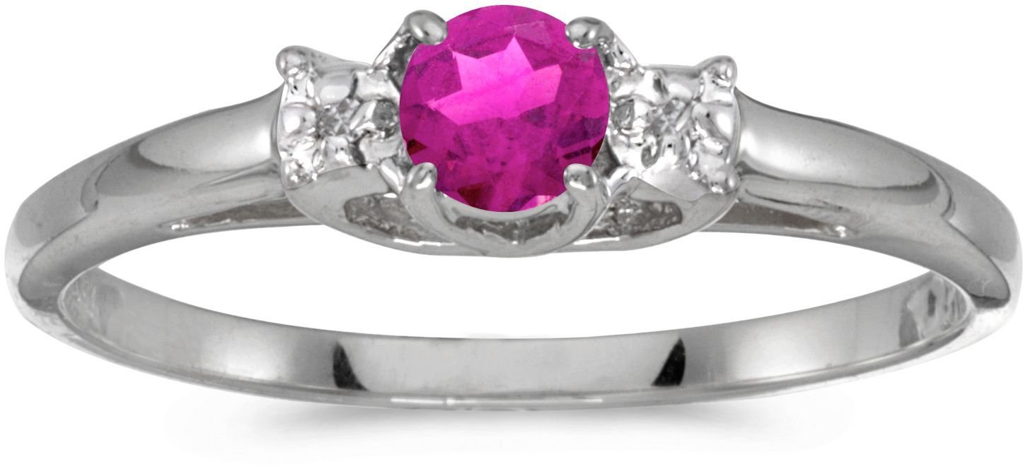 10k White Gold Round Pink Topaz And Diamond Ring (CM-RM1575W-PT)