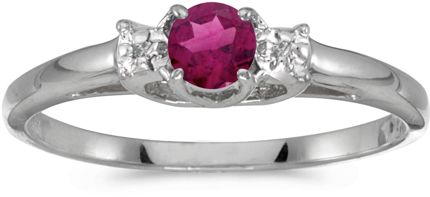 10k White Gold Round Rhodolite Garnet And Diamond Ring (CM-RM1575W-RG)