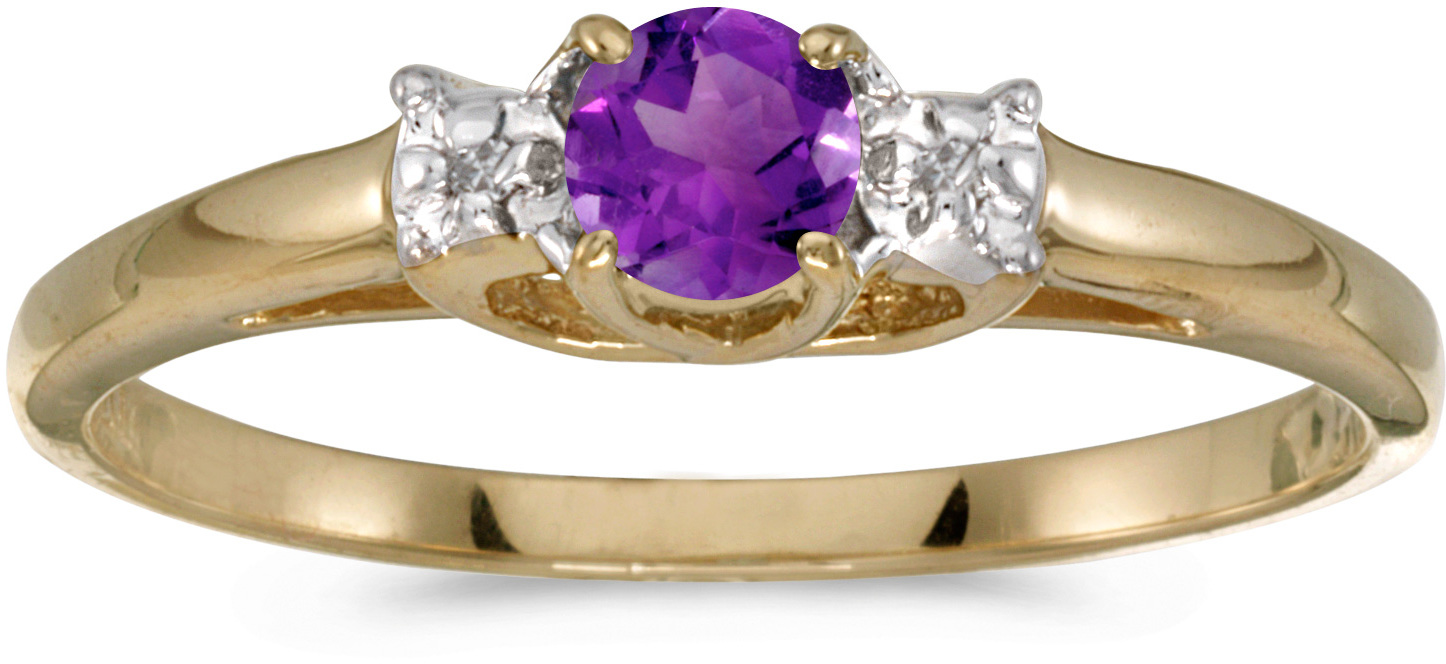 14k Yellow Gold Round Amethyst And Diamond Ring (CM-RM1575X-02)