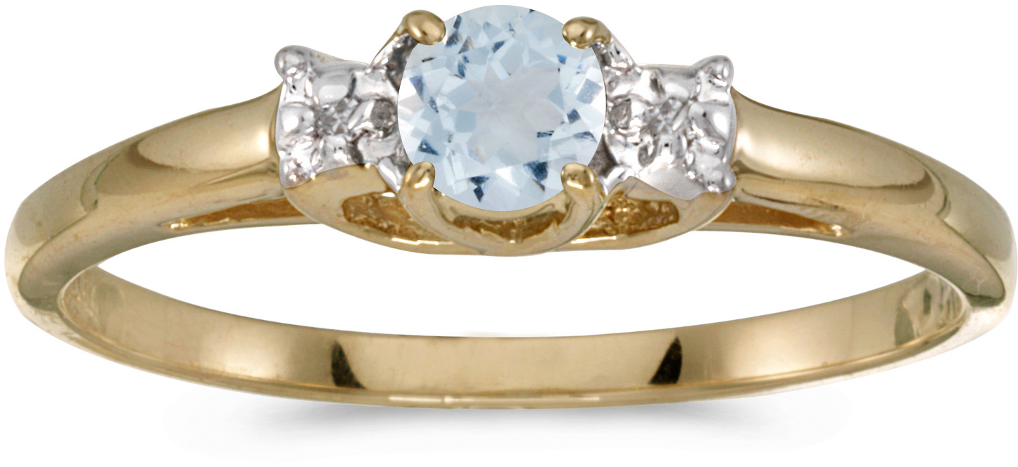 14k Yellow Gold Round Aquamarine And Diamond Ring (CM-RM1575X-03)