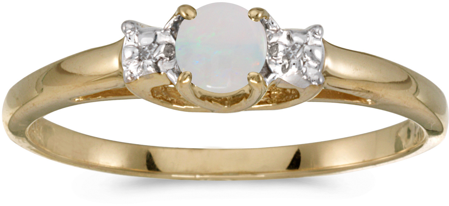 14k Yellow Gold Round Opal And Diamond Ring (CM-RM1575X-10)
