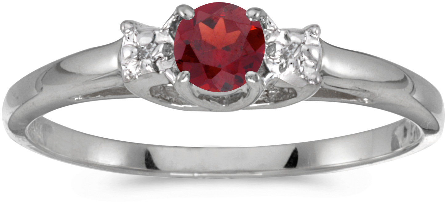 14k White Gold Round Garnet And Diamond Ring (CM-RM1575XW-01)