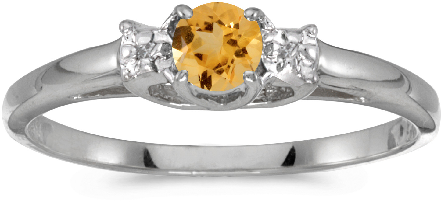 14k White Gold Round Citrine And Diamond Ring (CM-RM1575XW-11)