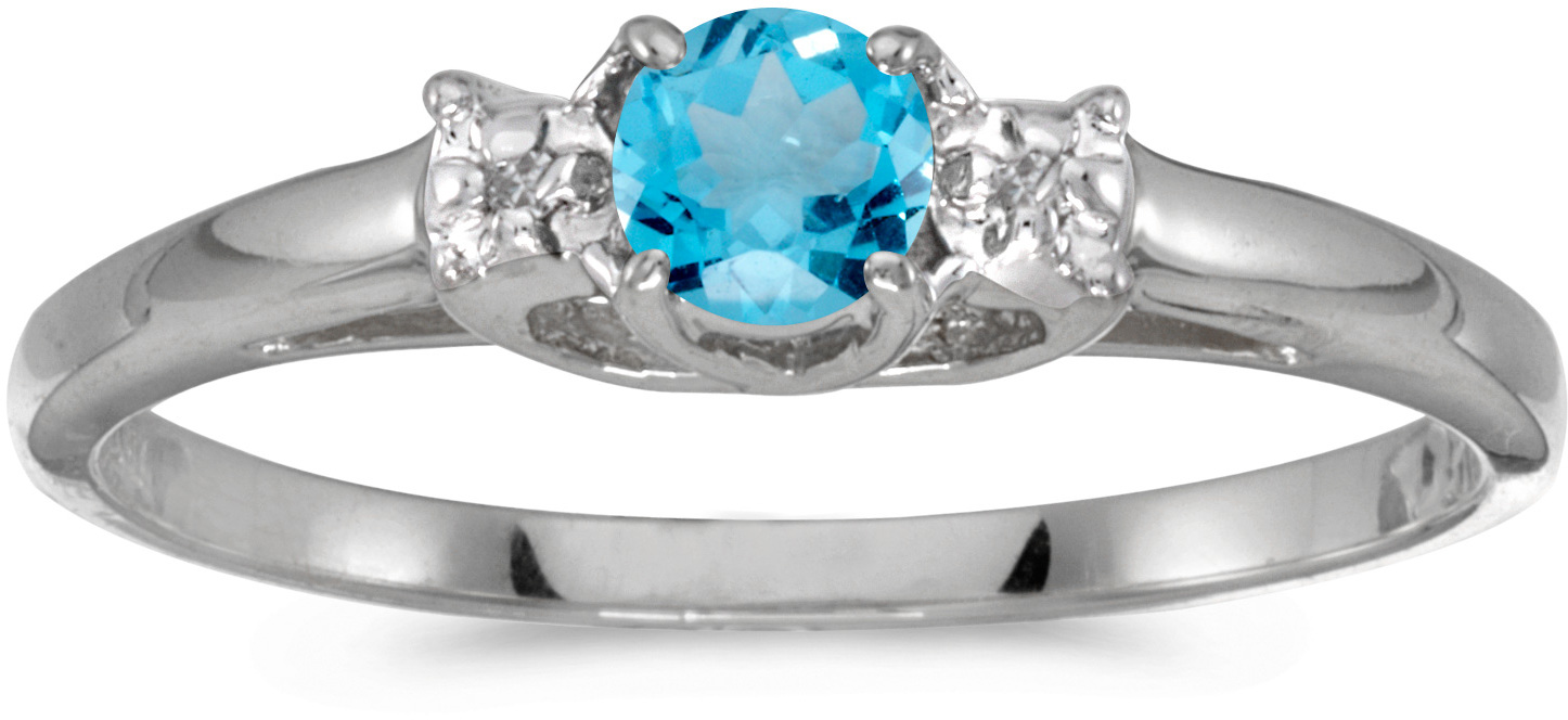 14k White Gold Round Blue Topaz And Diamond Ring (CM-RM1575XW-12)
