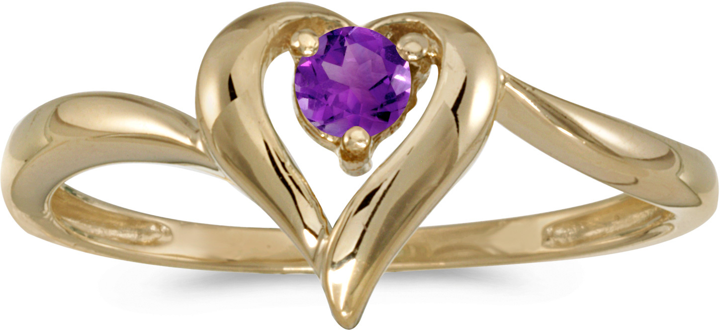 10k Yellow Gold Round Amethyst Heart Ring (CM-RM1588-02)