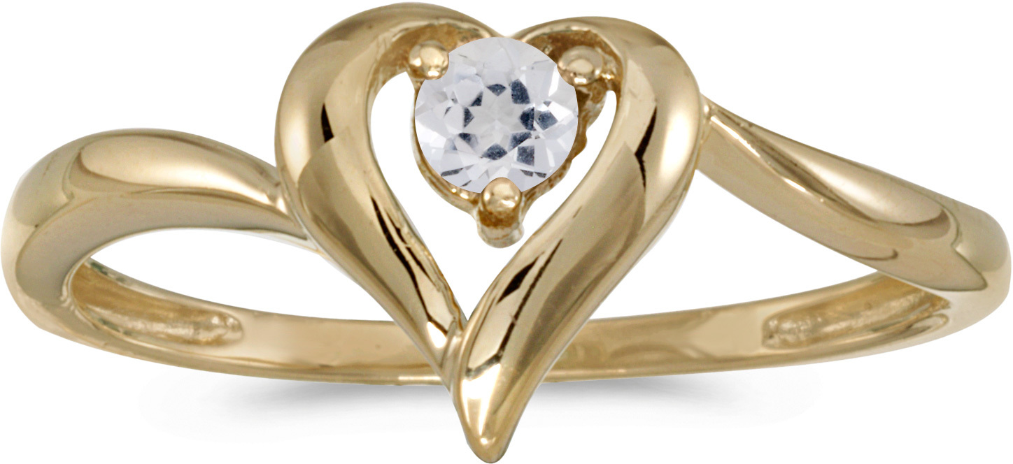 10k Yellow Gold Round White Topaz Heart Ring (CM-RM1588-04)