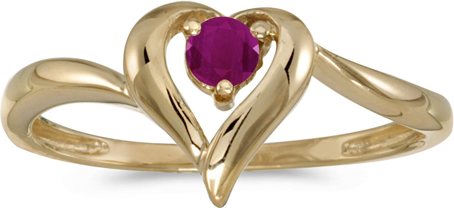 10k Yellow Gold Round Ruby Heart Ring (CM-RM1588-07)