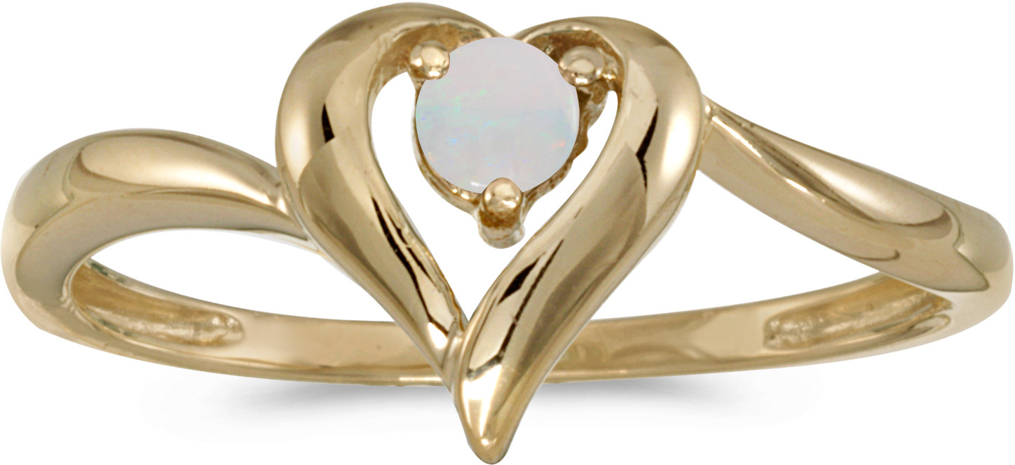 10k Yellow Gold Round Opal Heart Ring (CM-RM1588-10)