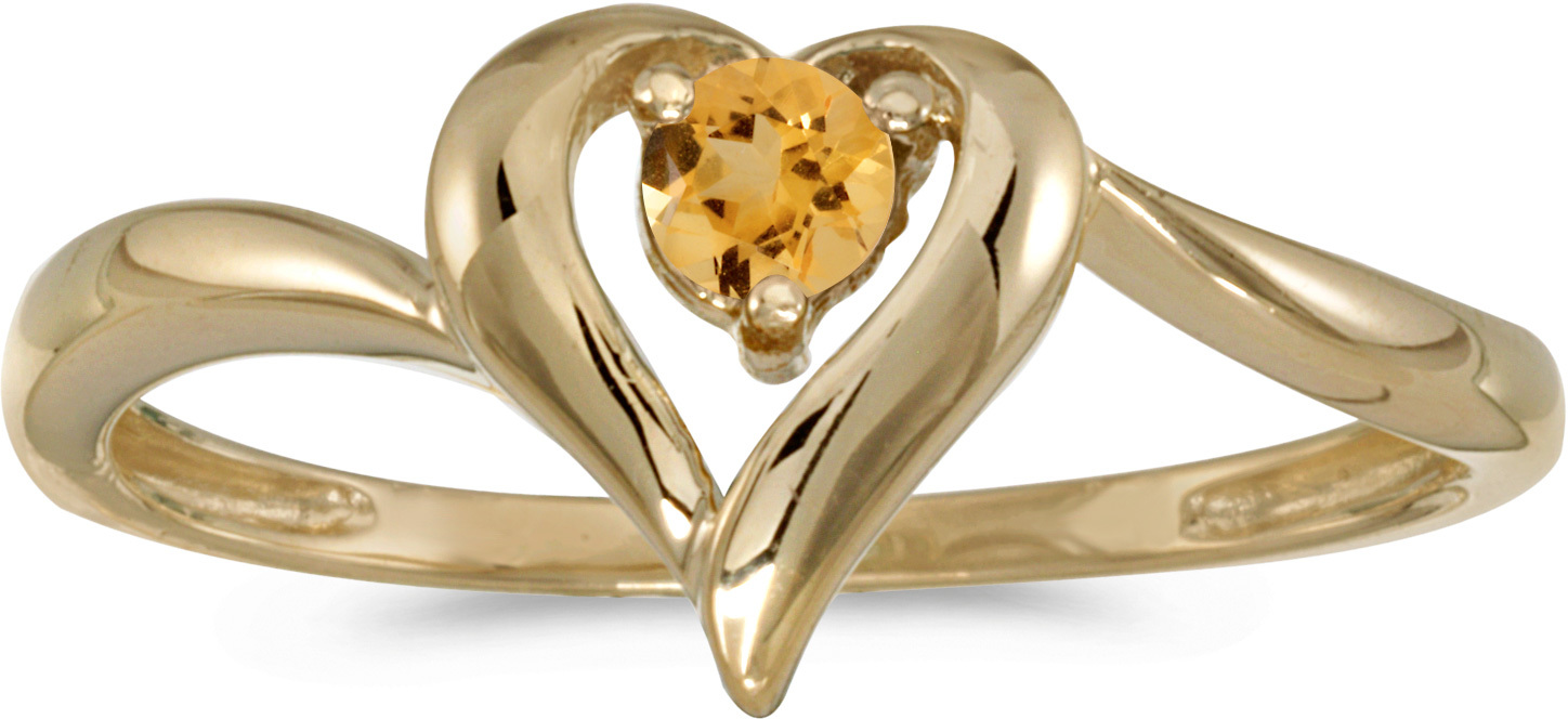 10k Yellow Gold Round Citrine Heart Ring (CM-RM1588-11)