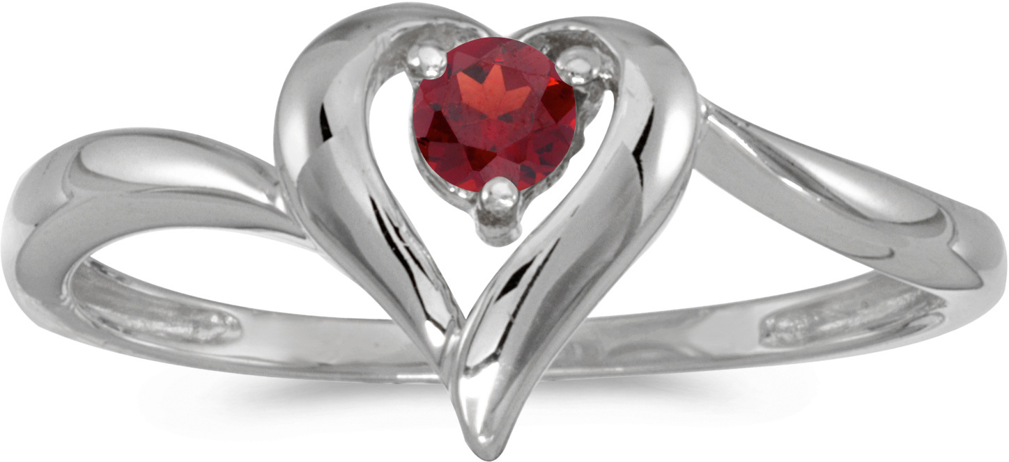 10k White Gold Round Garnet Heart Ring (CM-RM1588W-01)