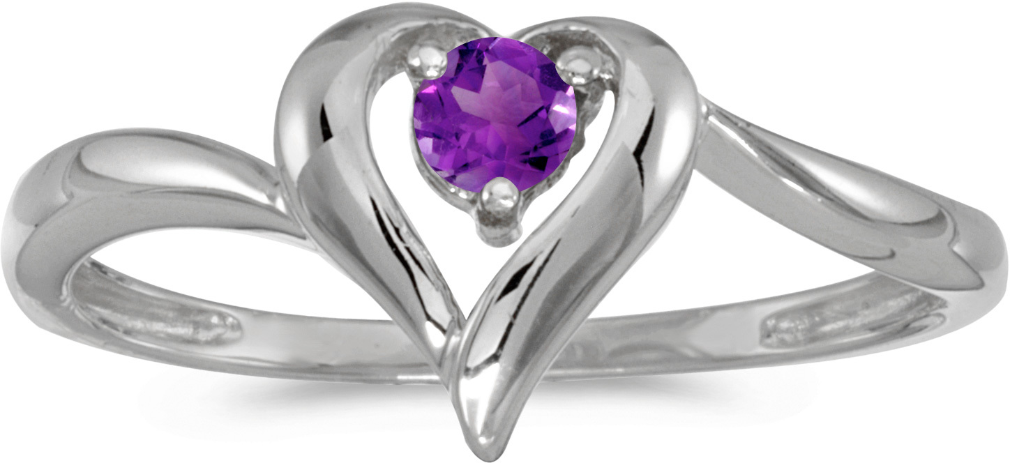 10k White Gold Round Amethyst Heart Ring (CM-RM1588W-02)