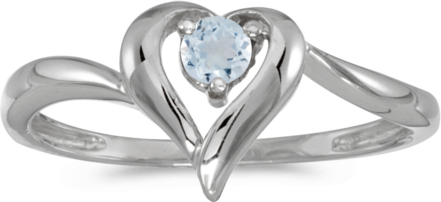 10k White Gold Round Aquamarine Heart Ring (CM-RM1588W-03)