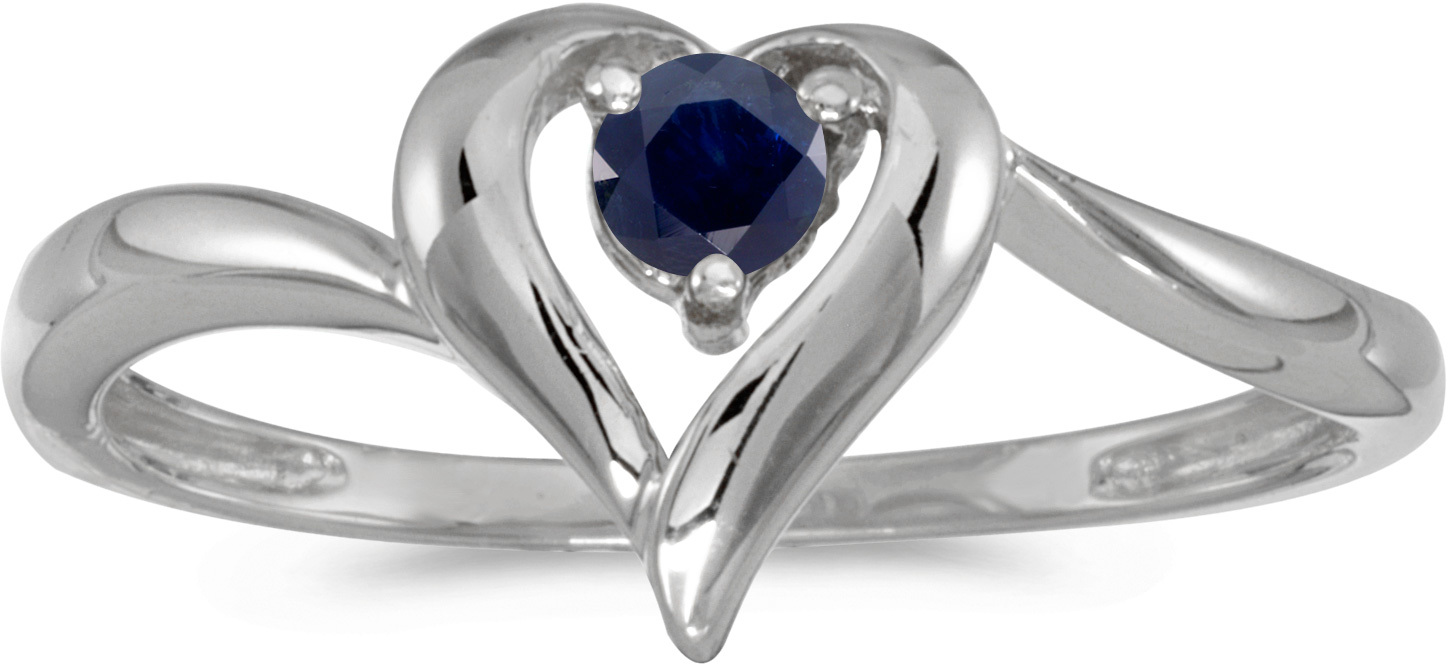 10k White Gold Round Sapphire Heart Ring (CM-RM1588W-09)