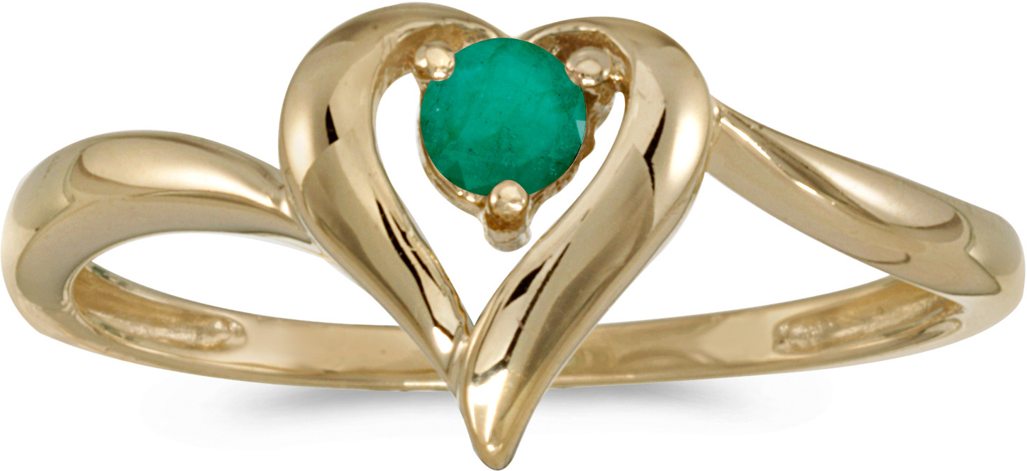 14k Yellow Gold Round Emerald Heart Ring (CM-RM1588X-05)