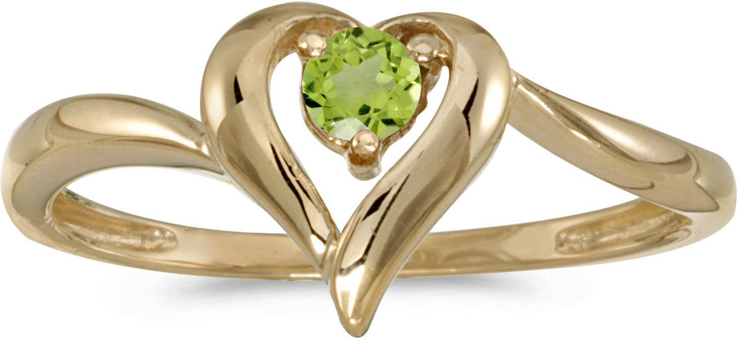 14k Yellow Gold Round Peridot Heart Ring (CM-RM1588X-08)