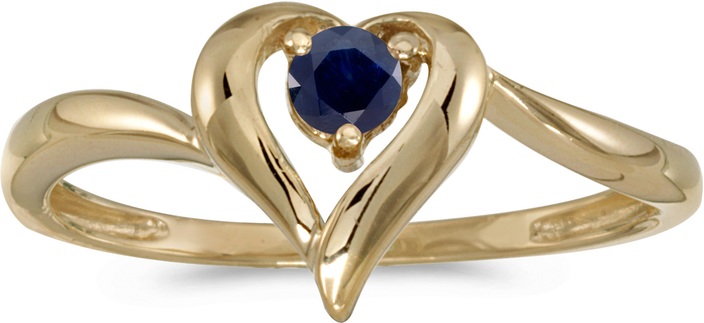 14k Yellow Gold Round Sapphire Heart Ring (CM-RM1588X-09)