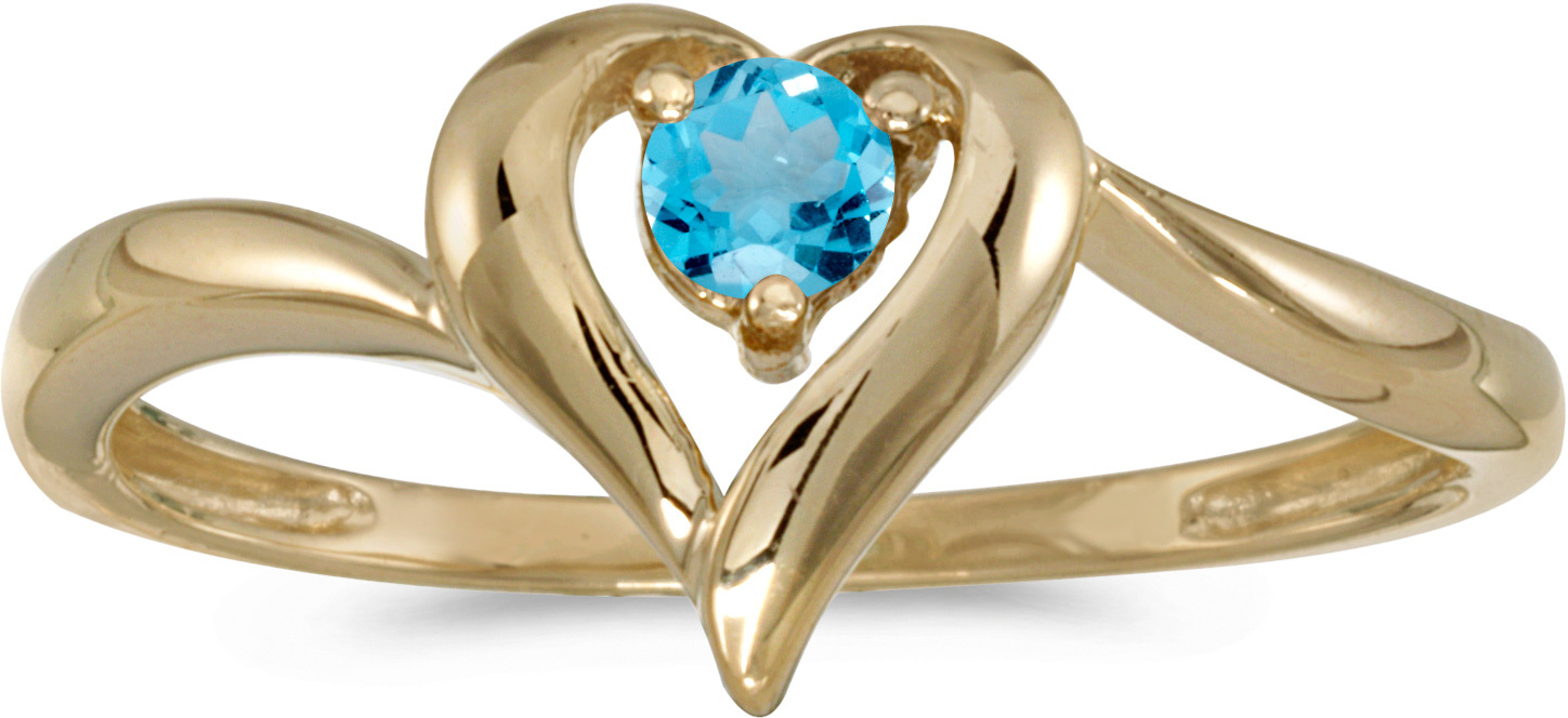 14k Yellow Gold Round Blue Topaz Heart Ring (CM-RM1588X-12)