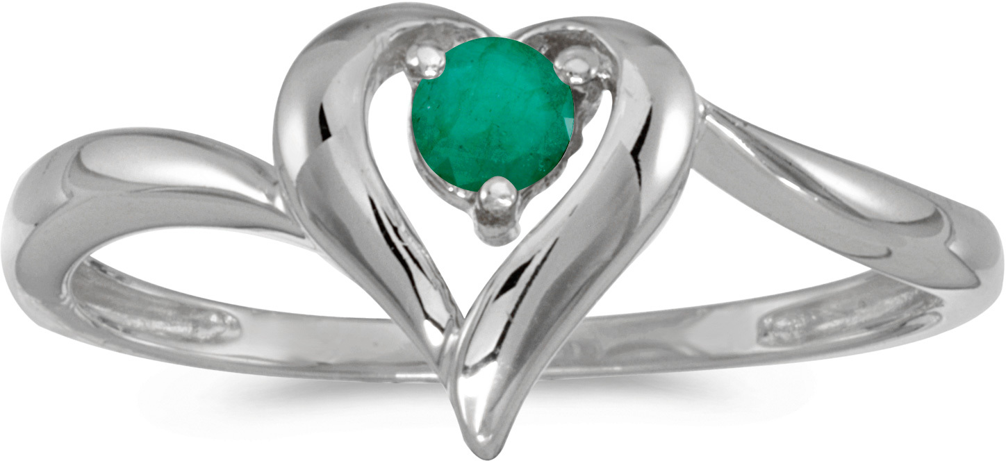 14k White Gold Round Emerald Heart Ring (CM-RM1588XW-05)