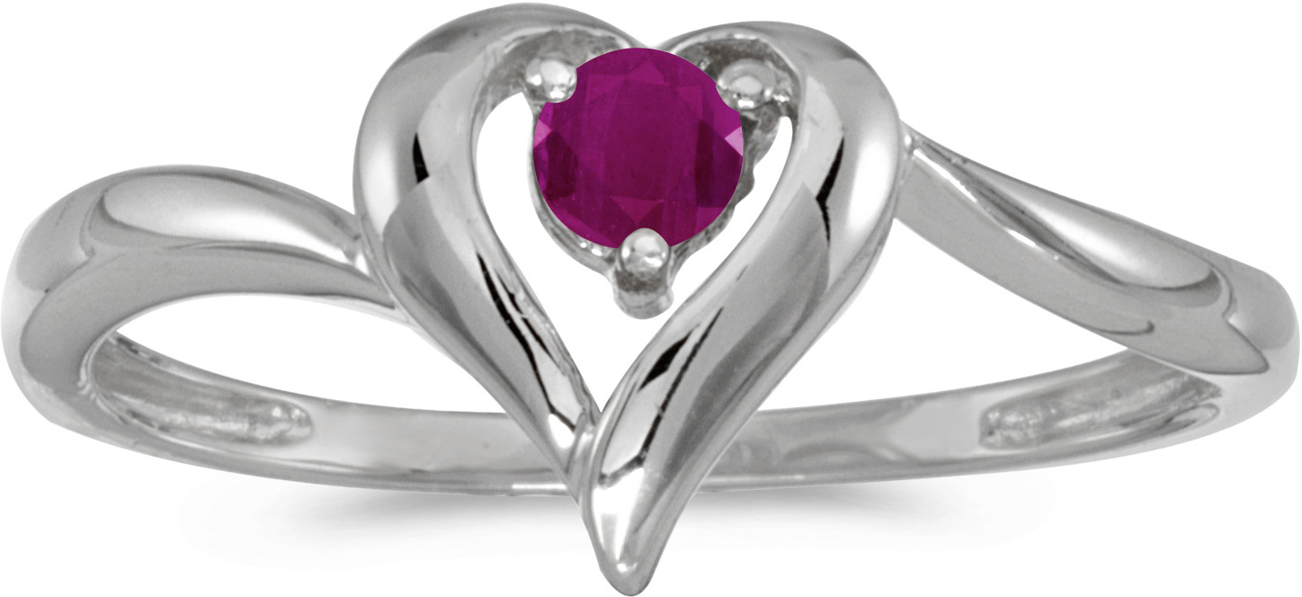 14k White Gold Round Ruby Heart Ring (CM-RM1588XW-07)