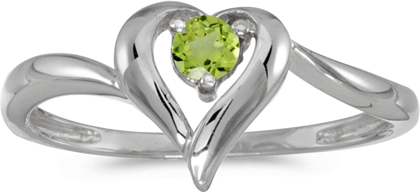 14k White Gold Round Peridot Heart Ring (CM-RM1588XW-08)