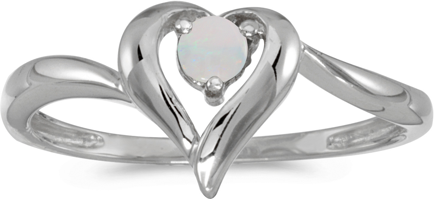 14k White Gold Round Opal Heart Ring (CM-RM1588XW-10)