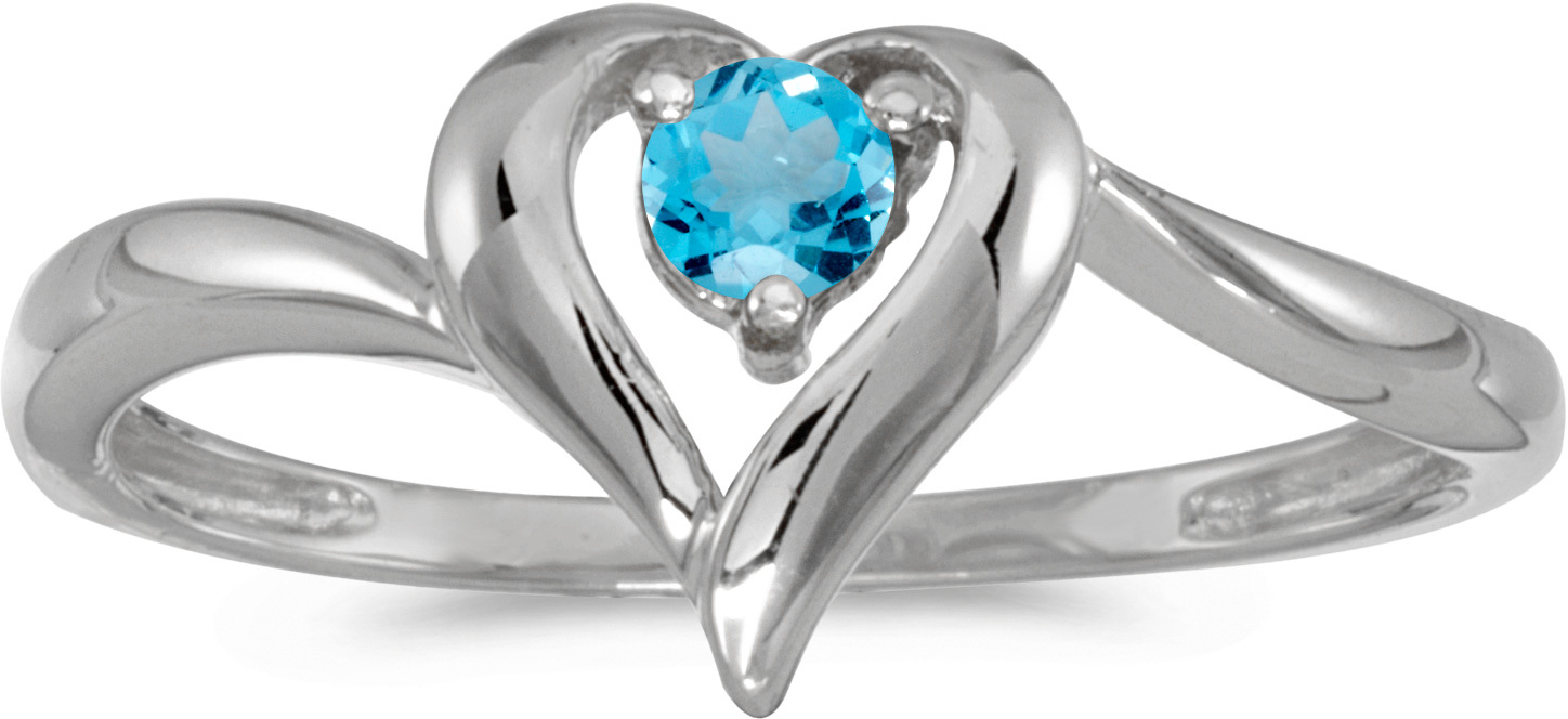 14k White Gold Round Blue Topaz Heart Ring (CM-RM1588XW-12)