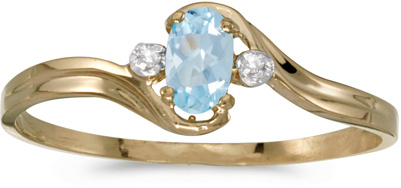 10k Yellow Gold Oval Aquamarine And Diamond Ring (CM-RM1678-03)