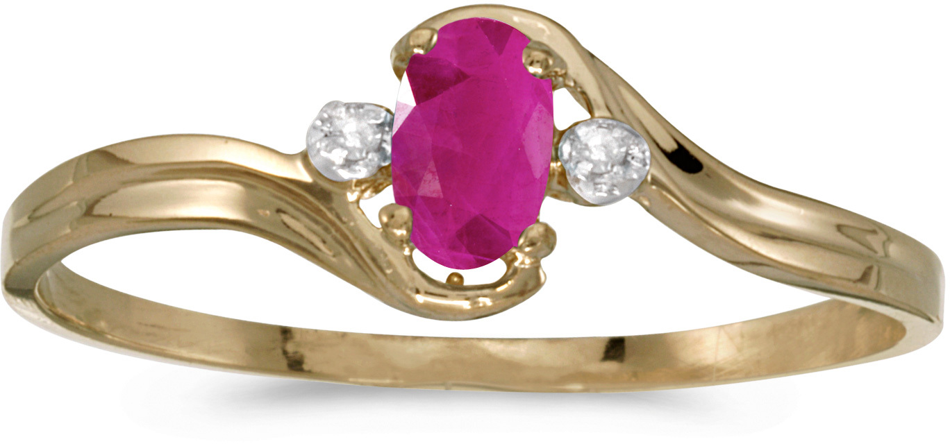 10k Yellow Gold Oval Ruby And Diamond Ring (CM-RM1678-07)