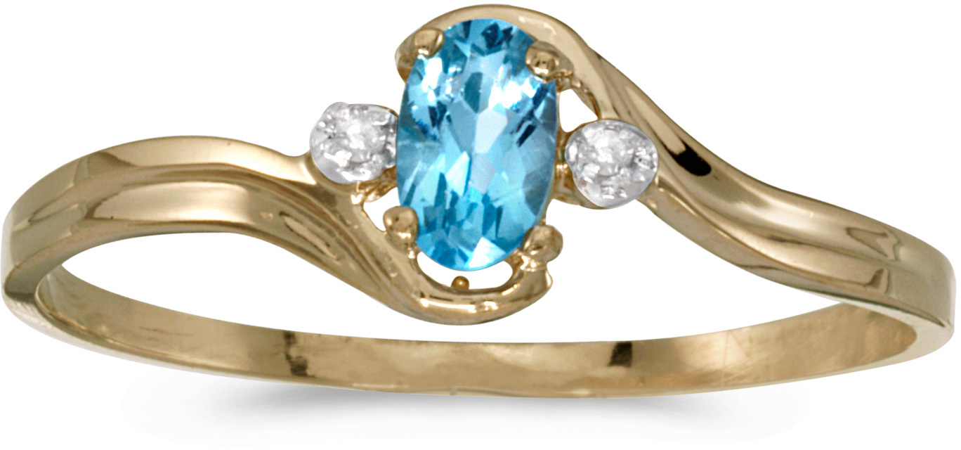 10k Yellow Gold Oval Blue Topaz And Diamond Ring (CM-RM1678-12)