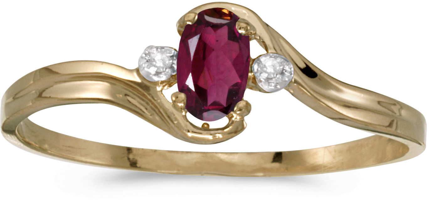 10k Yellow Gold Oval Rhodolite Garnet And Diamond Ring (CM-RM1678-RG)