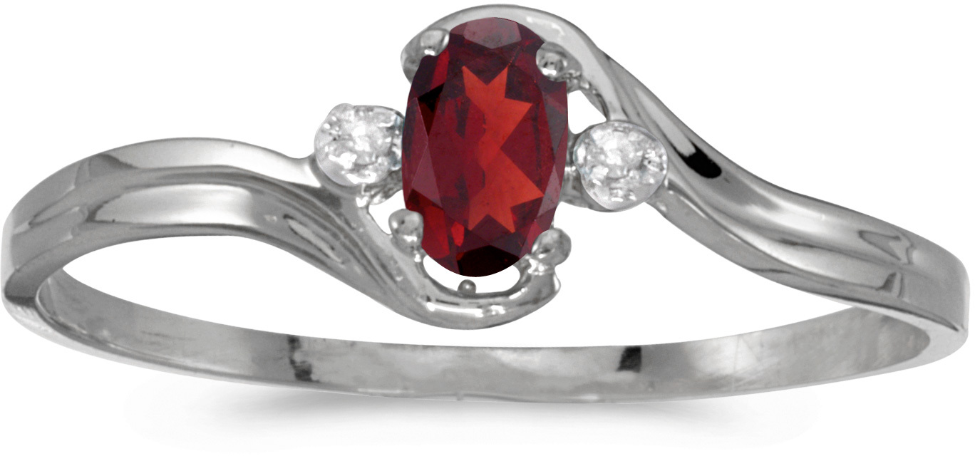 10k White Gold Oval Garnet And Diamond Ring (CM-RM1678W-01)