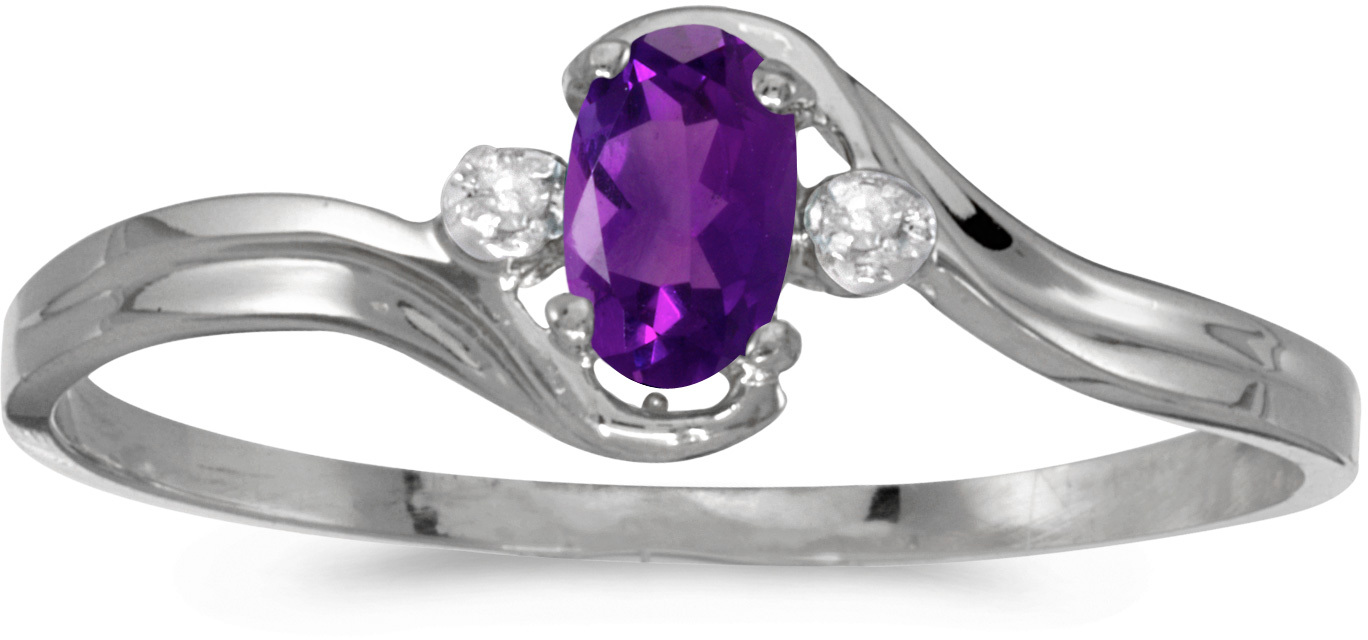 10k White Gold Oval Amethyst And Diamond Ring (CM-RM1678W-02)