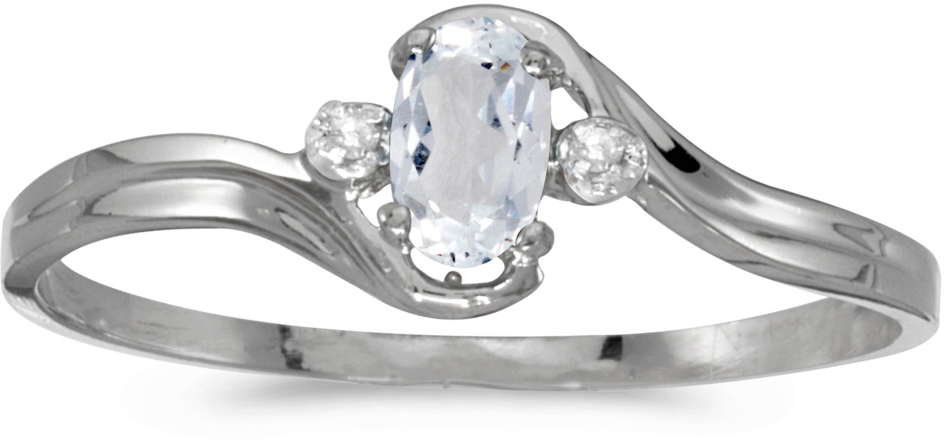 10k White Gold Oval White Topaz And Diamond Ring (CM-RM1678W-04)