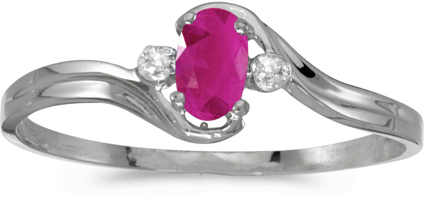 10k White Gold Oval Ruby And Diamond Ring (CM-RM1678W-07)
