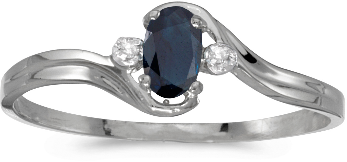 10k White Gold Oval Sapphire And Diamond Ring (CM-RM1678W-09)