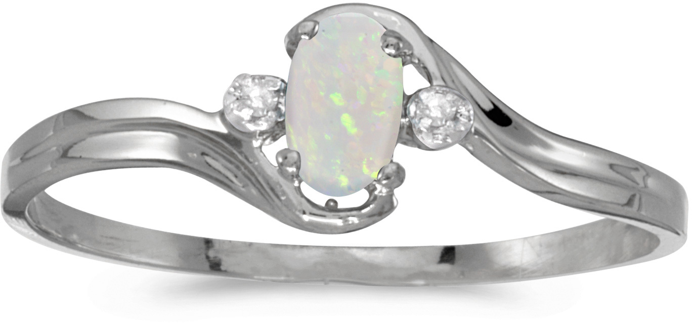 10k White Gold Oval Opal And Diamond Ring (CM-RM1678W-10)