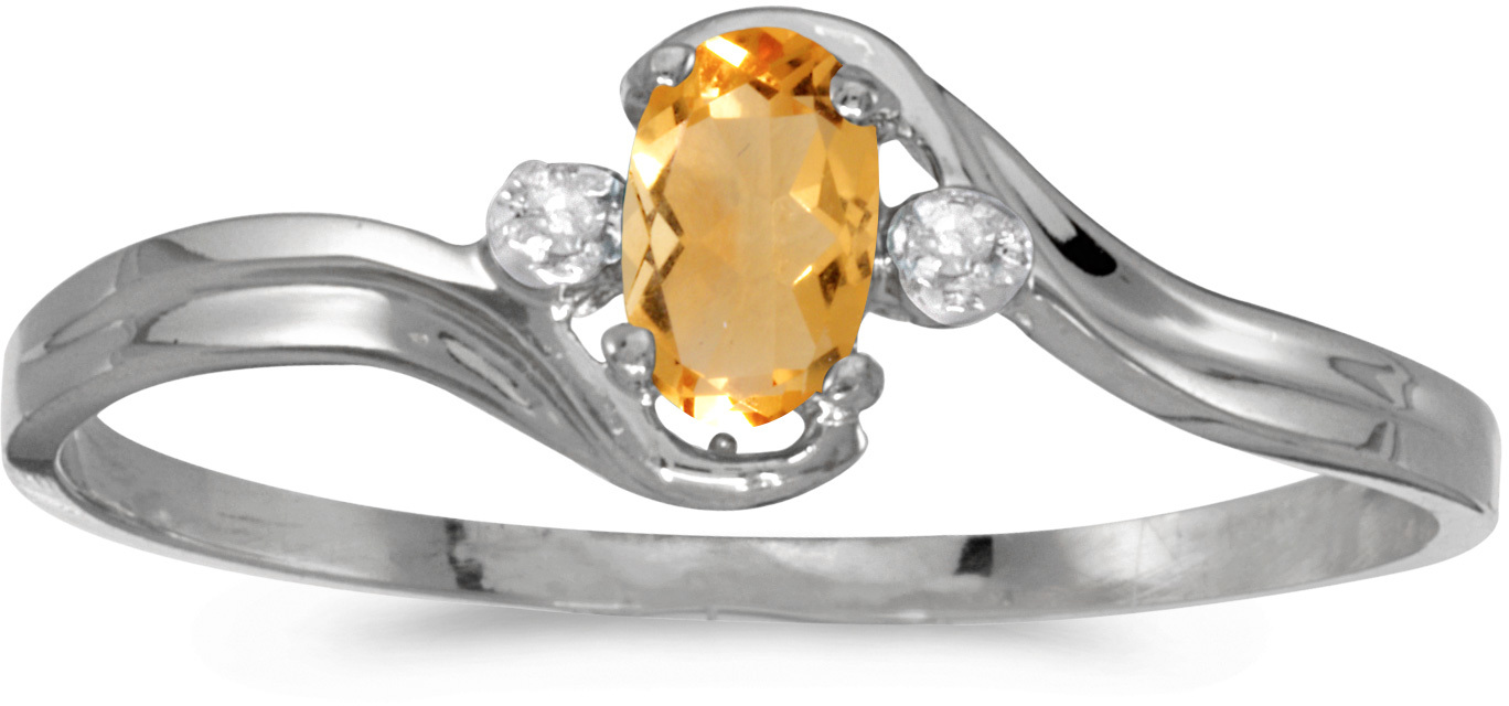 10k White Gold Oval Citrine And Diamond Ring (CM-RM1678W-11)