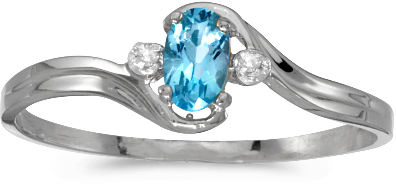 10k White Gold Oval Blue Topaz And Diamond Ring (CM-RM1678W-12)