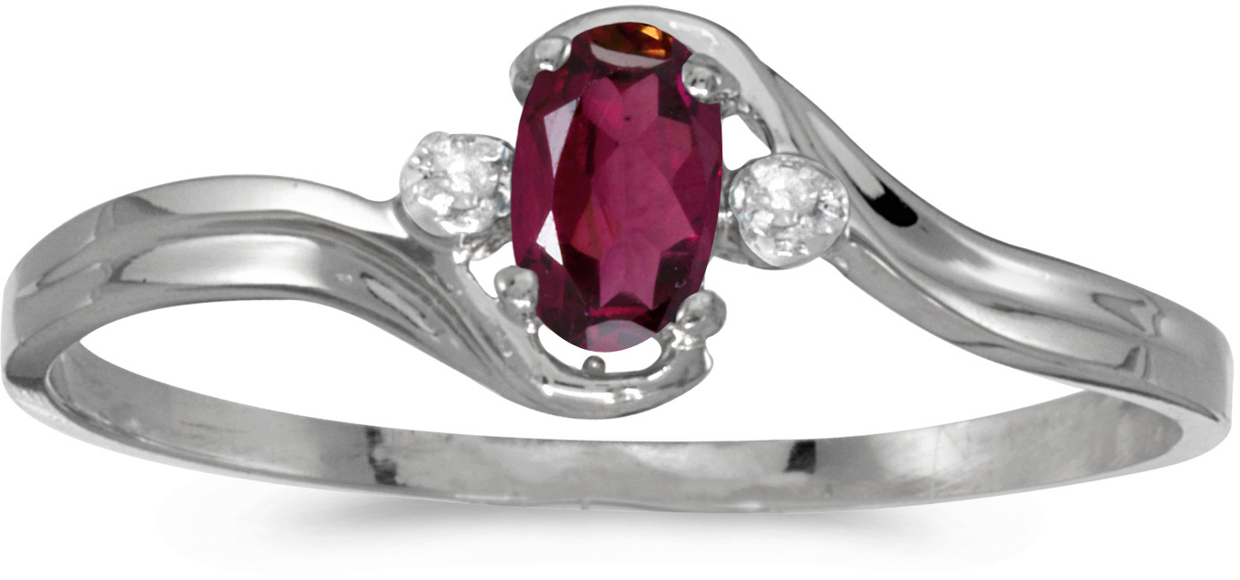 10k White Gold Oval Rhodolite Garnet And Diamond Ring (CM-RM1678W-RG)