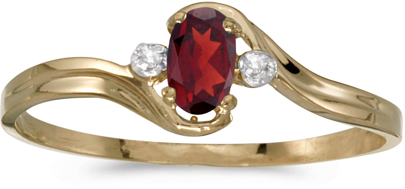 14k Yellow Gold Oval Garnet And Diamond Ring (CM-RM1678X-01)