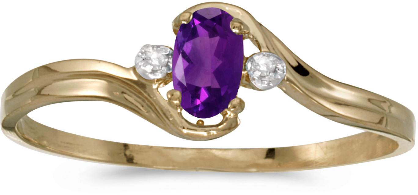 14k Yellow Gold Oval Amethyst And Diamond Ring (CM-RM1678X-02)