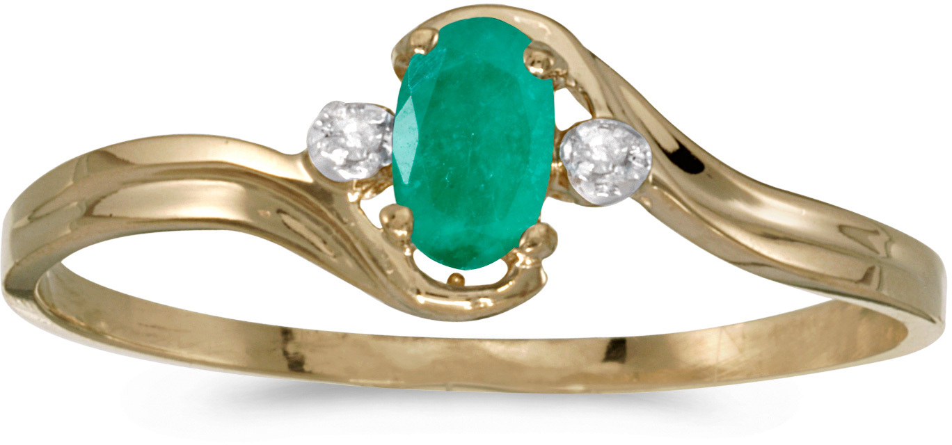 14k Yellow Gold Oval Emerald And Diamond Ring (CM-RM1678X-05)